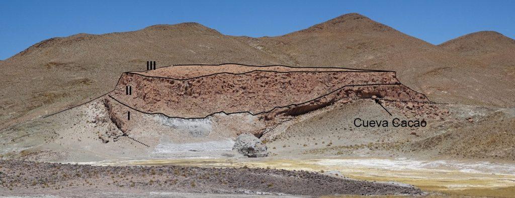 Niveles de coladas ignimbríticas en el relieve residual de la Cueva Cacao
